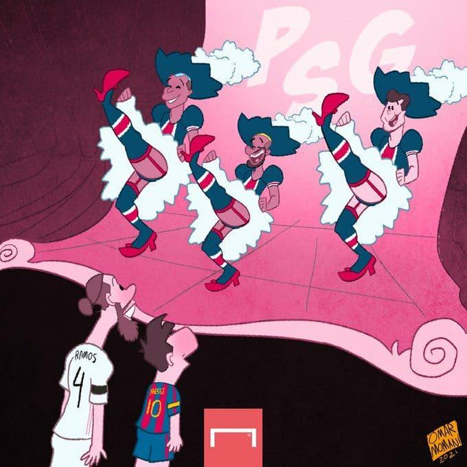 Karikatura! Pochettino Messi va Ramosni o'ziga ishontirmoqda